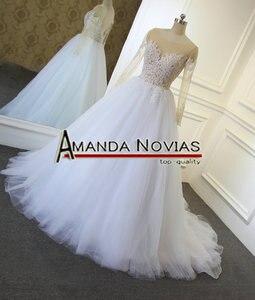 Image 3 - דגם חדש שקוף למעלה סקסי שמלות כלה Novias אמנדה העבודה האמיתית
