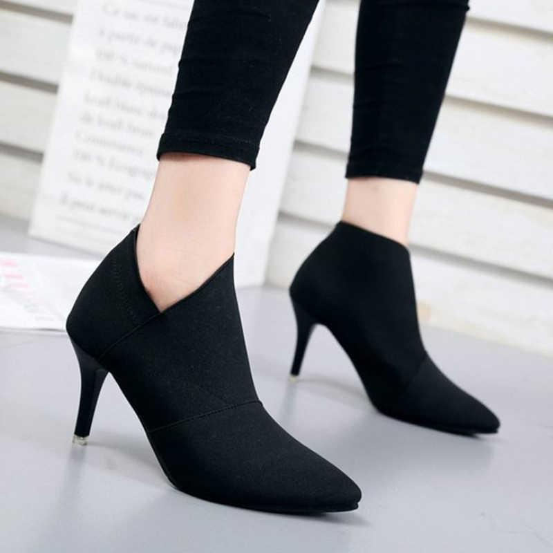 MCCKLE/женские ботильоны с острым носком; Женские базовые замшевые туфли-лодочки на высоком каблуке из ткани; повседневная женская модная обувь