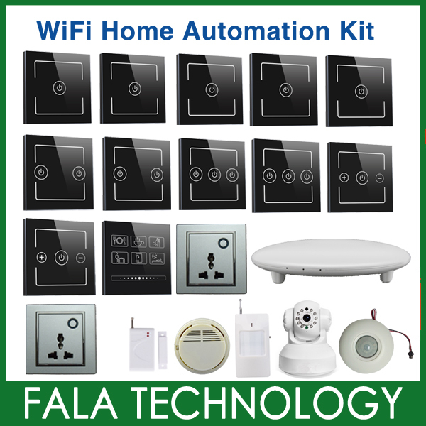 DHL Free shipping wifi smart home automation system kit control by iPhone iPad Android Windows through 2G 3G LTE WiFi network