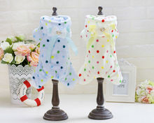 FY63 New Pet Dog clothes Color dots pattern dog sleepwear Coral Cotton Velvet Hoodies Puppy Dog Sweater Chihuahua Free shipping