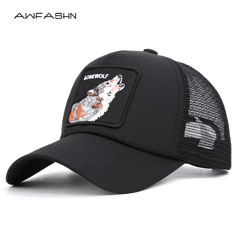 Fashion Mesh Baseball Cap Summer Lovely Animals Caps Wolf Embroidery Snapback Dad Hat Women Men Bone Adjustable Gorras Sport