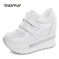 SWYIVY Woman Sneakers Platform Wedge Heel 2018 Summer Mesh Breathable Woman Casual Shoes Leisure Hook Loop