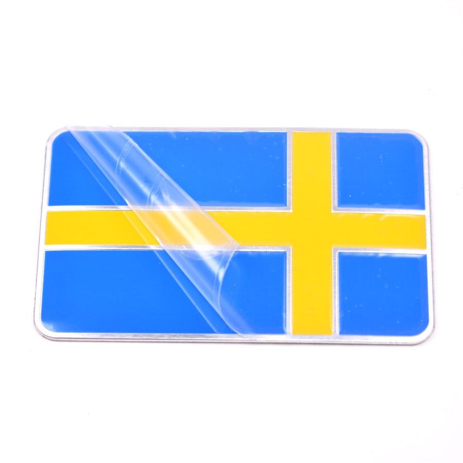 YAQUICKA Suécia Bandeira Sueca De Alumínio Auto Carro Emblema Emblema Do Carro decalque Adesivo Para Bmw VW Audi Buick Jeep Volvo Saab acessório