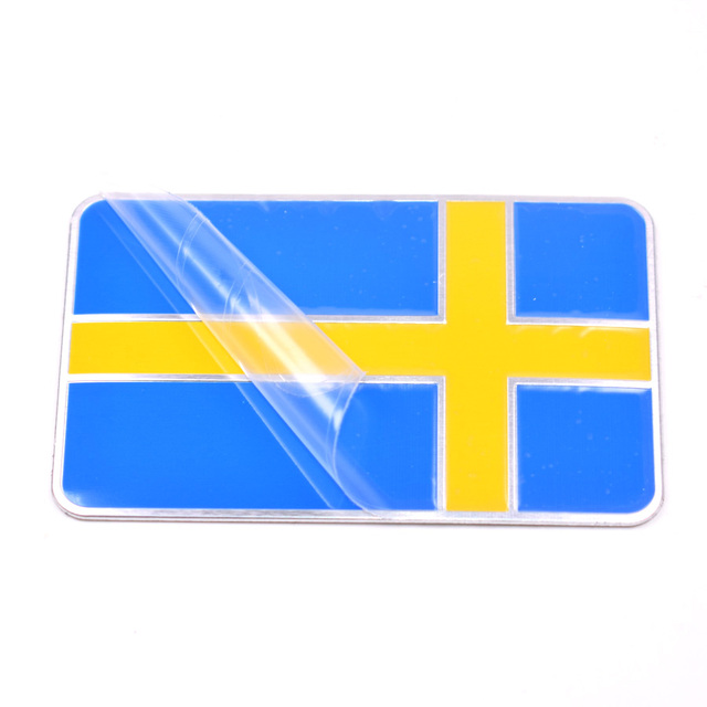 Yaquicka aluminum auto car sweden swedish flag car emblem badge decal sticker for bmw vw audi