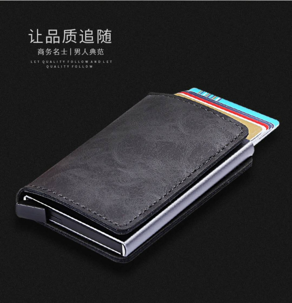 Casekey Aluminum Wallet With Back Pocket ID Holder RFID Blocking Mini Magic Card Wallet Automatic Pop Up Credit Card Coin Purse