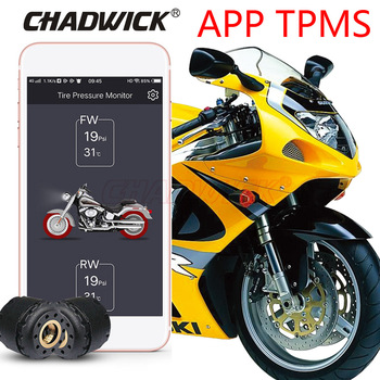 TPMS Motorcycle BY Bluetooth control Tire Pressure Monitoring System Mobile Phone APP Detection 2 External Sensors CHADWICK 200