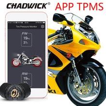 TPMS รถจักรยานยนต์โดยบลูทูธควบคุมความดันยางระบบตรวจสอบโทรศัพท์มือถือ APP การตรวจจับ 2 เซ็นเซอร์ภายนอก CHADWICK 200