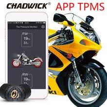 Tpms motocicleta por controle bluetooth sistema de monitoramento pressão dos pneus do telefone móvel app detecção 2 sensores externos chadwick 200