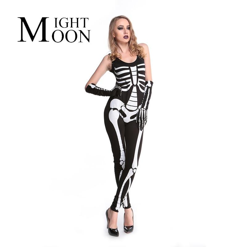 MOONIGHT 2018 Women Skeleton Skull Print Sleeveless Halloween Costume Fancy Party Catsuit Jumpsuit Costume