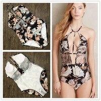 2016 Sexy Deep V Neck Wrap High Waist One Piece Swimsuit Women Swimwear Bathing Suit Bandage