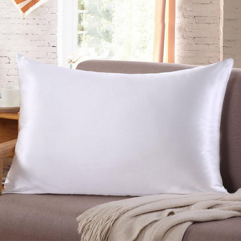 Silk Pillowcase Top Quality Pillow Case 2Pc Pillow Cover Silk Pillow Case 51cm X 76cm 13 Colors To Choose