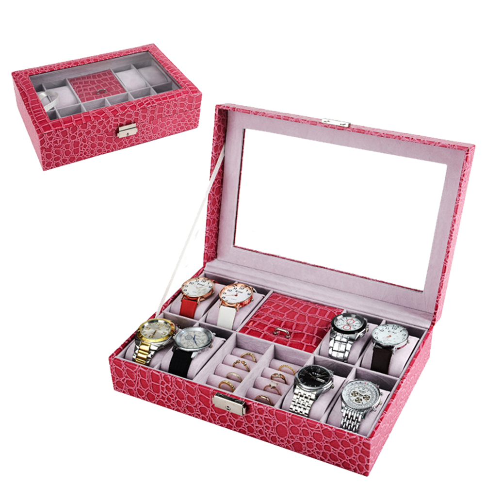 Brand Jewelry Watch Box Case Pink Black Leather Case Box Rings Jewelry Wrist Watch Collection Storage Organizer Holder Box Case women jewelry watch box pink stripe leather wristwatch display case box rings collection storage organizer holder box case