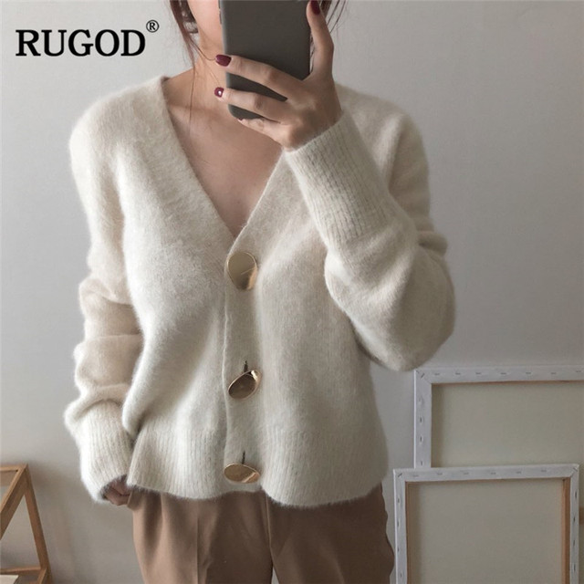 $ US $21.41 RUGOD Solid Elegant Women Cardigans Casual V-Neck Cashmere Knitted Women Sweaters Coat Slim Autumn Winter Clothes Female 2019