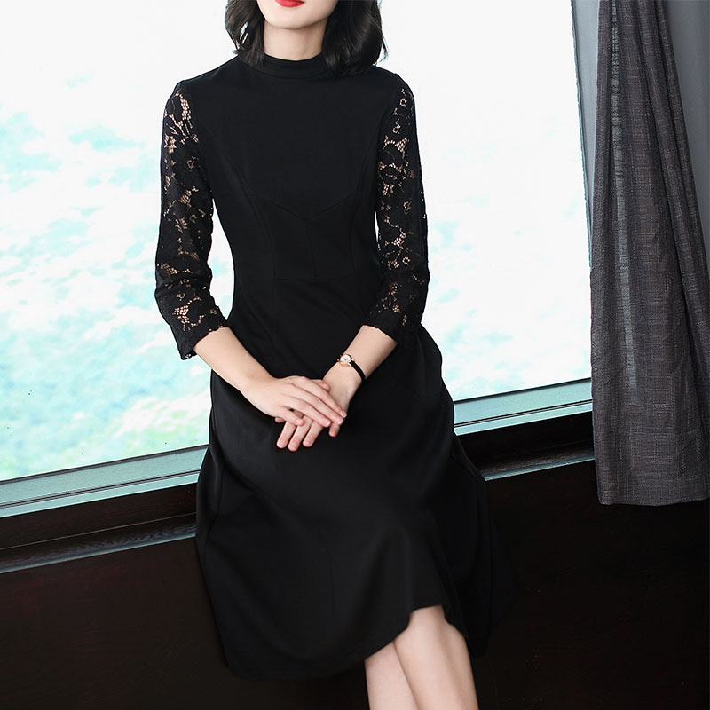 Autumn Dresses Office Lady dresses women clothes 2018 NEW fashion Ruffles dress lace sleeves casual dress