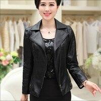 Nữ Áo Khoác Da Slim Fit Dài Tay Áo Nữ Mùa Xuân Cộng Với Kích Thước 3Xl 4Xl 5Xl Faux Leather Jacket Phụ Nữ Thanh Lịch Sude Áo A3408