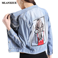 Vintage Blue Embroidery Denim Jacket New Women Applique Loose Plus Size Lady Top Denim Jacket Long Sleeve Hole Jeans Women
