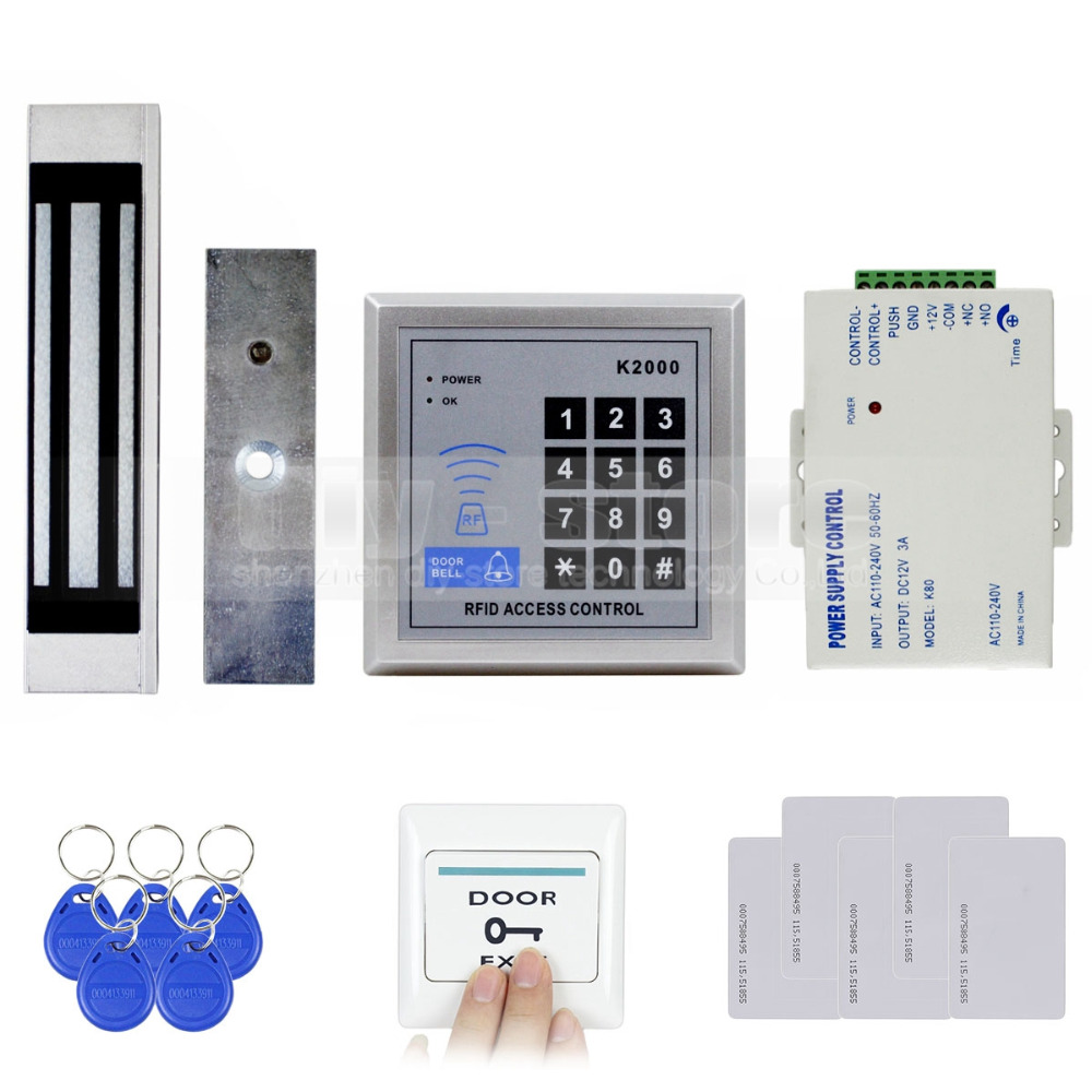 DIYSECUR 125KHz Rfid Card Reader Keypad Door Access Control Security System Kit + 180Kg Electric Magnetic Lock Door Bell Button diysecur rfid keypad door access control security system kit electronic door lock for home office b100