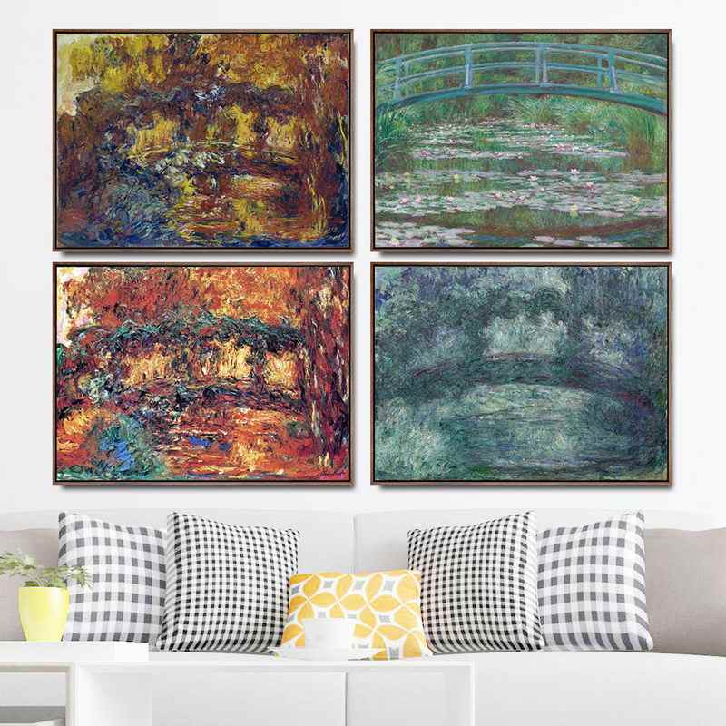 Home Decoration Art Wall Pictures Fro Living Room Poster Print Canvas Paintings French Claude Monet Sunrise Bridge