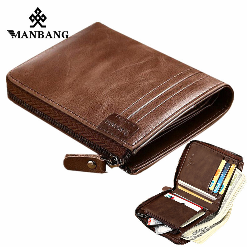 ManBang New Genuine Leather Men Wallet Small Vintage Zipper&Hasp Male Short Men Wallets Coin Purse Brand More Styles Wholesaler 2017 new wallet small coin purse short men wallets genuine leather men purse wallet brand purse vintage men leather wallet page 2