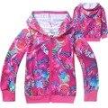 Hot sale Trolls Roupa da Menina dos desenhos animados casaco Crianças Hoodies Meninas Camisola Dos Miúdos das Crianças jaqueta de algodão outerwear zip