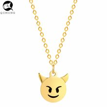 Small Devil Necklace Vintage Silver Stainless Steel Jewelry Accessories Monsters Pendant Women Baby Necklace(China)