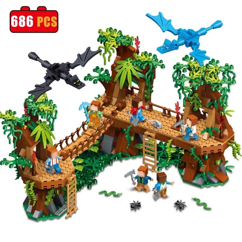 686 قطع بلدي العالم Minecrafted الغابات Compatibie Legoings اللبنات مجموعة ألعاب Diy تربية الأطفال عيد الميلاد هدايا عيد الميلاد-في مجموعات البناء النموذجي من الألعاب والهوايات على  مجموعة 1