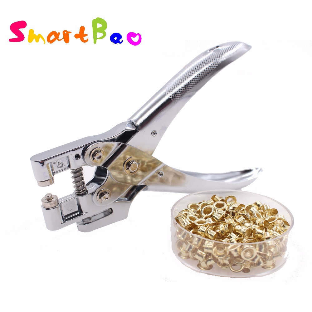 Metal Retainer Punching Machine with Eyelet Grommet Plier With Grommets 5mm Round Hole Perforadora de papel with Rings NO.9718 недорго, оригинальная цена