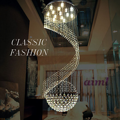 LED k9 Crystal Chandelier Pendant Lighting Hanging Ceiling Lamps Fixtures with LED Source Clear K9 Crystal Free shipping in Ceiling Lights from Lights Lighting