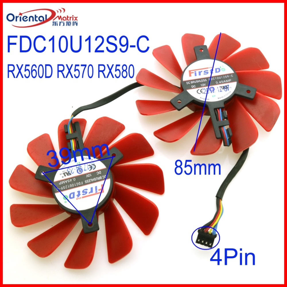 Free Shipping FD9015U12D FDC10U12S9 C 12V 85mm 4Wire 4Pin VGA Fan For XFX RX560D RX570 RX580 Graphics Card Cooling Fan in Fans Cooling from Computer Office