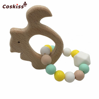 Beech Wooden Animals Can Chew Beads Food Grade Silicone Teether Baby Toys Baby Shower Gifts Teething