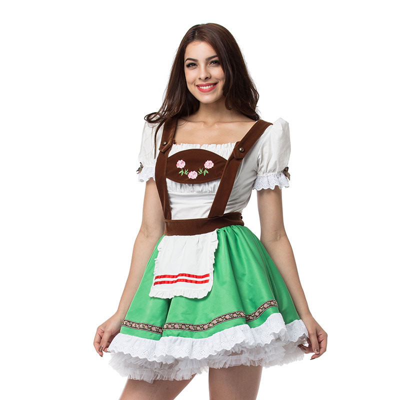 S-XXL Fashion Ladies Oktoberfest Costume Beer Girl Maid Costume German Bavarian Heidi Fancy Dress