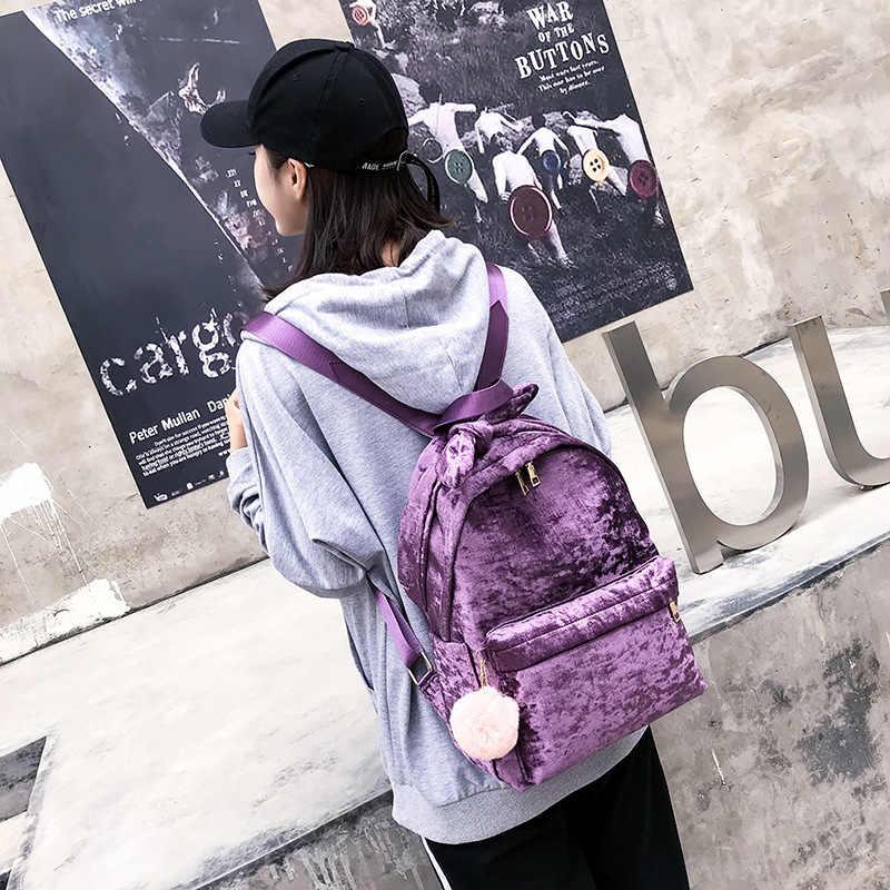 Милый Золотой бархатный рюкзаки с бантом для женщин, большие возможности, школьные сумки, модные дорожные сумки, сумки для книг, рюкзак для девочек-подростков, Mochila