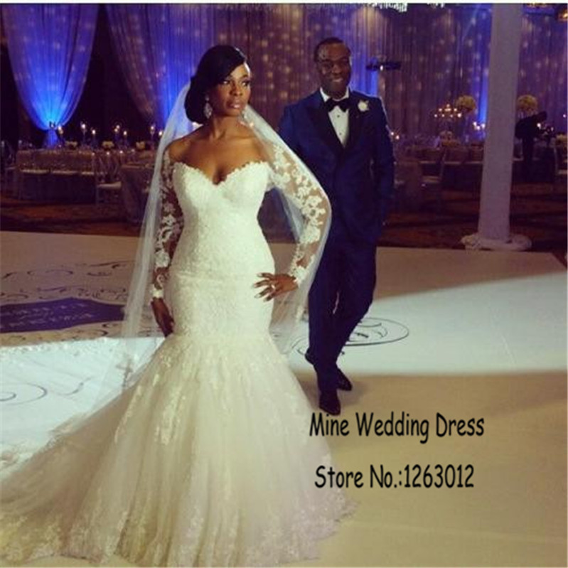 Luxury Lace Lique Sweetheart Off The Shoulder Long Sleeves Trumpet Wedding Dresses Plus Size Mermaid Dress In From Weddings