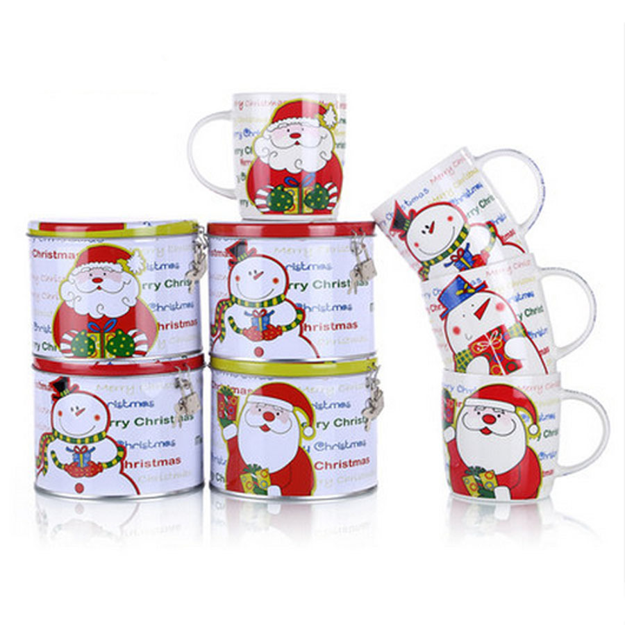 2setlot ceramic christmas handgrip mugs set 1 set1 mug1 money box cartoon santa claus snowman cups with money box with lock in mugs from home garden