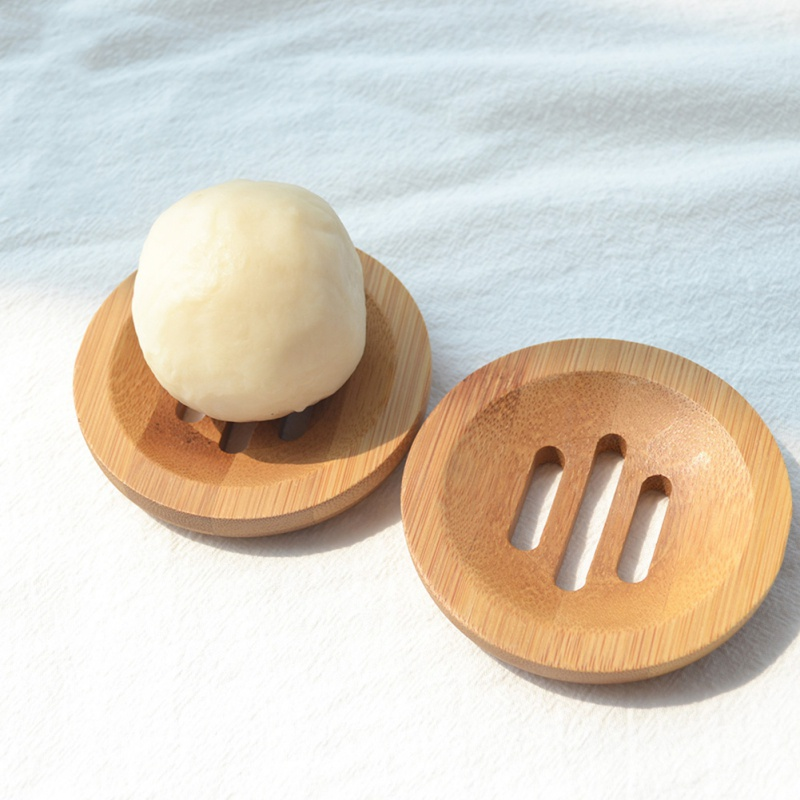 1pcs Wooden Natural Bamboo Soap Dish Tray Holder Storage Soap Rack Plate Box Container For Bath Shower Plate Bathroom