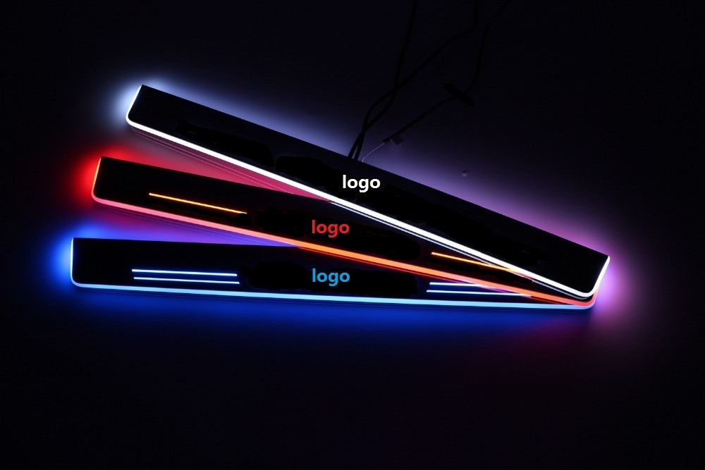 Qirun acrylic led moving door scuff welcome light pathway lamp door sill plate linings for Peugeot