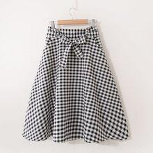 3bae244022e4 Plaid Sweet A Line Skirt Women 2018 New Autumn Trendy Elastic Bowknot  Pockets High Waist Girls Preppy Style Skinny Daily Skirts