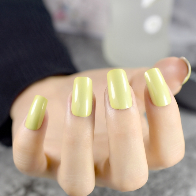 Long Pre designed False Nails Square Cream Mirror Shiny Green Yellow ...