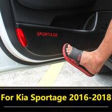 Estilo do carro Porta Protetor de Porta Pad Prancha Anti Pontapé Mat Pad Decoração de Interiores Para A Kia Sportage 4 QL 2016 2017 2018 Acessórios