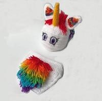 かわいいレインボーユニコーン男の子の服女の子取っフォト新生児シャワーギフト高品質かぎ針編み帽子と手作りお