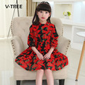 V-TREE spring kids dress full sleeve flower girls dress fancy party princess dress for girl children teenagers clothes 4-12T