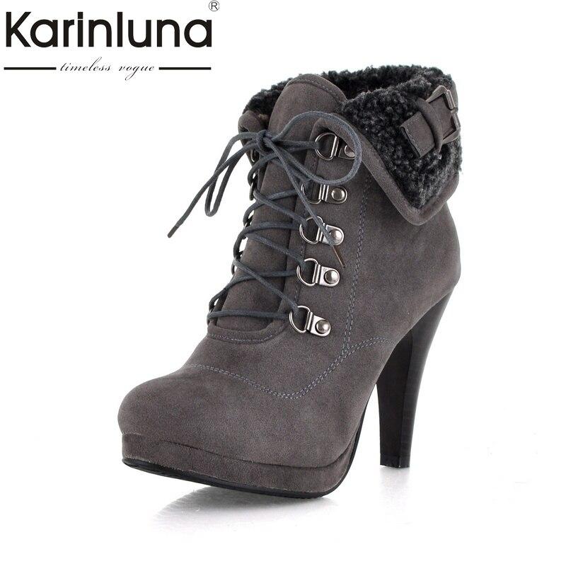KarinLuna large size 34-43 brand design lace up women shoes woman retro thin high heels platform ankle boots winter shoes