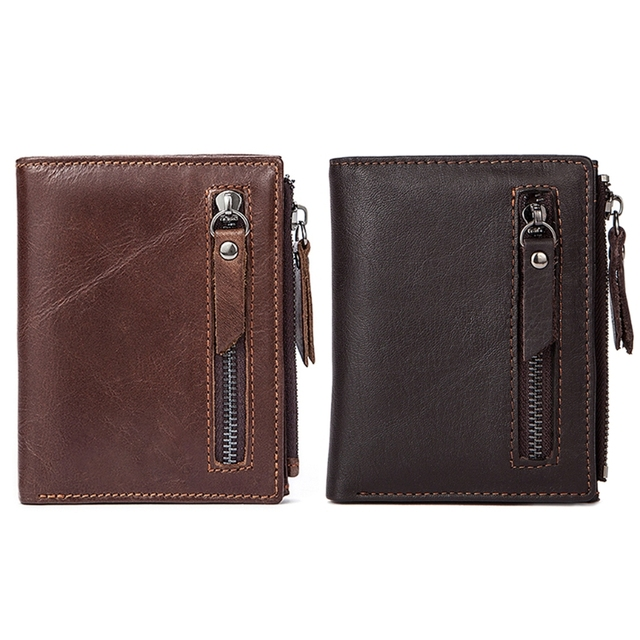 24cb6494c2c7 US $10.22 20% OFF Mens Short Credit Card Holder Wallet Bifold ID Cash Coin  Purse Clutch Billfold High Quality Genuine Leather Wallet -in Wallets from  ...