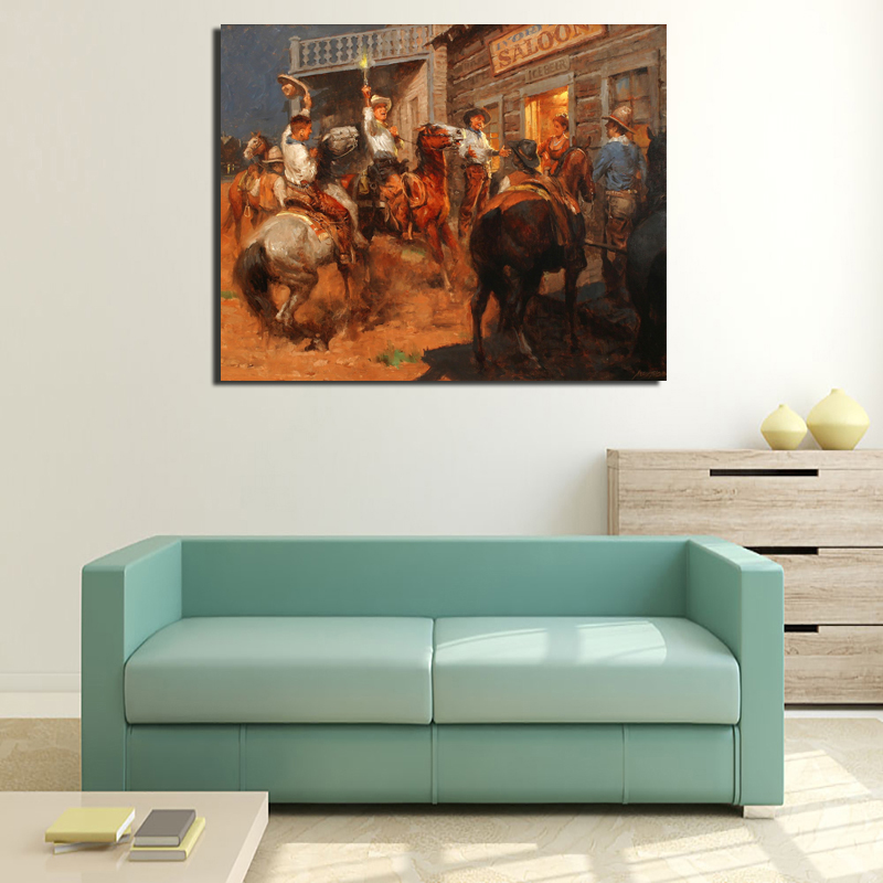 Andy Thomas Cowboy In Oil Painting Canvas Painting Poster Print Wall Art Oil Painting Decorative Pictures Modern Home Decoration in Painting Calligraphy from Home Garden