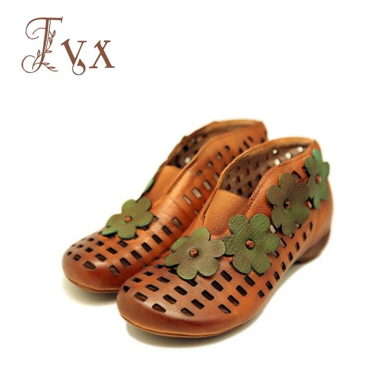 Tayunxing genuína artesanal de couro oco sapatos de salto baixo mulheres bombas conforto casual salto baixo slip-on lady retro 022-91A