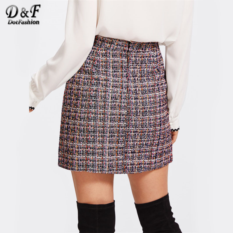 56b2b2df9b Dotfashion Zip Back Tweed Winter Skirt Women 2019 New Arrival Multi Plaid  Cute Bottoms For Ladies A Line Short Skirt-in Skirts from Women's Clothing  on ...