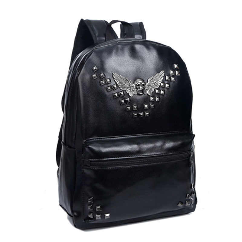 Retro rebite mochilas 2019 hip-hop couro do plutônio mochilas masculinas vintage punk crânio mochilas femininas adolescentes bolsas