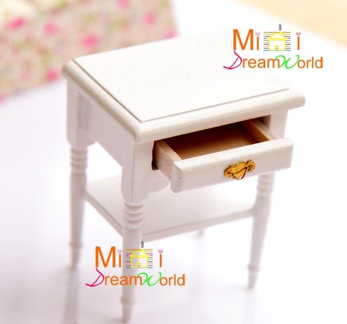 MINI Dollhouse Mini furniture accessories bat handle pure white nightstand small side table