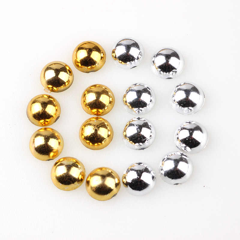 Gold & Silve Color Half Round Pearl  2mm 3mm 4mm 5mm 6mm 8mm 10mm Imitationr ABS Flat Back Pearl For  Nail Art