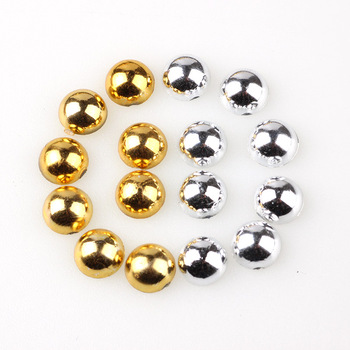 Gold & Silve Color Half Round Pearl  2mm 3mm 4mm 5mm 6mm 8mm 10mm Imitationr ABS Flat Back For Nail Art